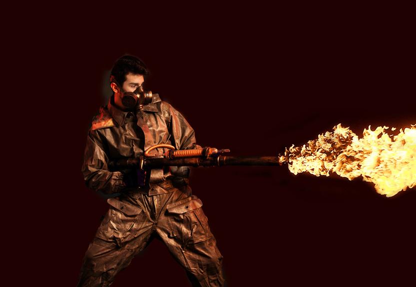 Flamethrower, Dark Background